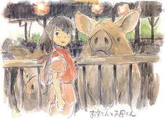 Spirited Away concept sketch by Hayao Miyazaki