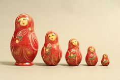 "5 Piece ""Vyatskaya Matryoshka"" Rose, number 50130 - 368 Роза"