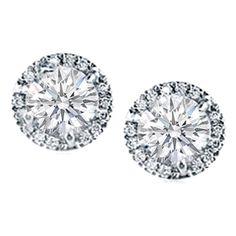 Round Diamond Prong Set Halo Earrings in 14 Karat White Gold H SI2, 0.60 tcw