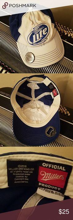 OFFICIAL MILLER LITE BASEBALL CAP W/BOTTLE OPENER OFFICIAL MILLER LITE BASEBALL CAP W/BOTTLE OPENER.  VELCRO CLOSURE Miller Lite Accessories Hats