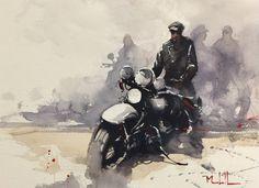 Daniel Marshall - Wild One Motorcycle Art, Bike Art, Harley Davidson Kunst, David Mann Art, Urbane Kunst, Kunst Poster, Cult, Automotive Art, Sports Art