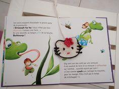 Un marque page Kitty pour les lectures des petites filles, au crochet