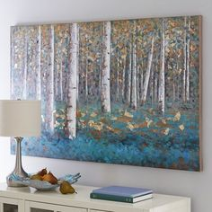 Slender white birches stand in vivid contrast to clusters of luxuriant teal foliage in our unique, hand-painted acrylic reproduction. Rich in detail and bold, saturated color, it makes a strong statement. Birch Trees Painting, Birch Tree Art, Tree Paintings, Painting Techniques, Painting Inspiration, Color Inspiration, Wood Art, Landscape Paintings, Canvas Art