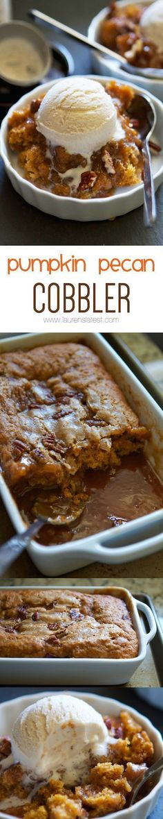 Pumpkin Pecan Cobbler Full of banana flavor, super moist, and gluten-free. - Pumpkin Pecan Cobbler Full of banana flavor, super moist, and gluten-free…what more could you wan - Fall Desserts, Just Desserts, Delicious Desserts, Yummy Food, Christmas Desserts, Halloween Desserts, Damn Delicious Recipes, Layered Desserts, Fall Dessert Recipes