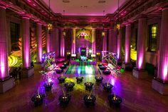 The rave-theme bat mitzvah, which had a neon green and pink color scheme, took place at the Andrew W. Mellon Auditorium.  Photo: MBK Photography