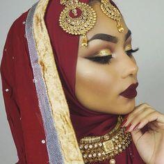 Indian bridal hair style bollywood jewels 63 Ideas - Wedding table - Brautjungfern make-up Bridal Makeup For Brown Eyes, Bridal Makeup Tips, Asian Bridal Makeup, Bridal Makeup Looks, Indian Makeup Looks, Bride Makeup, Indian Wedding Makeup, Wedding Day Makeup, Wedding Hijab