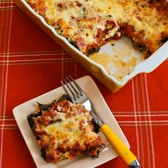 Sausage and Kale Mock Lasagna Casserole; all the flavors of lasagna without the pasta!  [from KalynsKitchen.com] #GlutenFree #DeliciouslyHealthyLowCarb