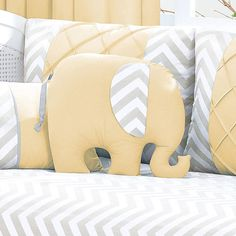 Almofada Bebê Elefante Brooklyn Chevron Cinza/Amarelo - Biramar - Baby Enxoval - BabyEnxoval