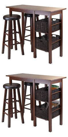 Sets 98478: 5 Piece Egan Set Breakfast Table With Baskets And Bar Stools  Wood/