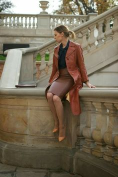 Vintage brown-red leather trench coat with brown leather pencil skirt