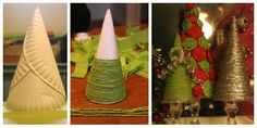 3 paper plates wrapped to a cone.  Then wrap green/red/gold/silver wire around it for mini xmas tree decor