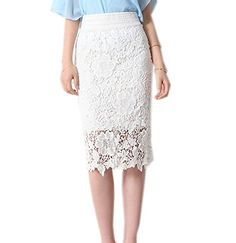 Liseaforu Womens Vintage Knee Length Lace Pencil Skirt Bodycon Skirt Material:lace and polyester Soft material and special design, make you more beautiful, fashion, sexy and elegant Elastic closure knee length style:hollow Pencil Skirt Outfits, High Waisted Pencil Skirt, Pencil Skirts, Women's Skirts, Pencil Dresses, Dress Skirt, Lace Skirt, Night Out Skirts, Metallic Pleated Skirt
