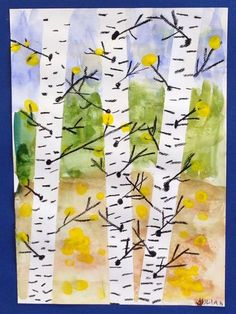 Kuvis and crafting - www. Art Drawings For Kids, Art For Kids, 2nd Grade Art, Spring Projects, Autumn Decorating, School Art Projects, Spring Art, Autumn Art, Art Classroom