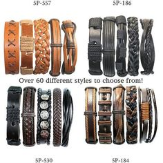 5 Piece Handmade Leather Bracelet Sets, 50 Different Sets To Choose From