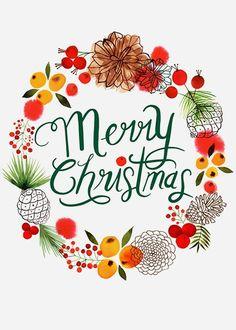 Margaret Berg Art: Merry+Christmas+Gold+Berries+Wreath
