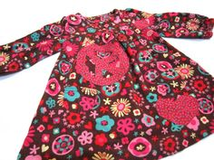 Toddler Girls Dress  Upcycled Brown Floral Flower by griffencat, $23.00
