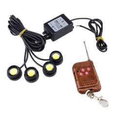 4PCS Xenon White LED Eagle Eye Strobe flash sticker Knight Night Rider Scanner Lighting DRL with Remote