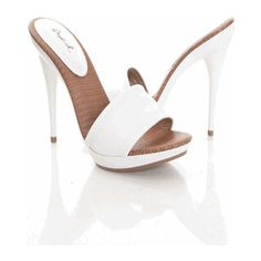 White Faux Leather One Band Slide Sandal Heel!!!