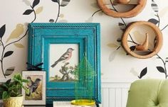 Love the bright colore frame surrounded by neutrals