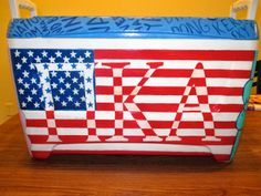 Fraternity cooler but would do it for Beta Theta Pi. Pi Kappa Alpha, Pi Beta Phi, Phi Mu, Fraternity Coolers, Frat Coolers, Formal Cooler Ideas, Cooler Connection, Bubba Keg, Crafts For Boys