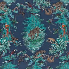 #Hermès #wallpaper: EQUATEUR col. M02  The iconic #design by Robert Dallet created in 1988 presents a vision on a grand scale of equatorial flora and fauna