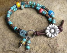Turquoise Czech Glass Mix Double Strand Bracelet