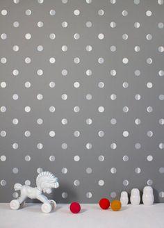 Moon Cresent Kitten Grey by Bartsch Wallpaper | JUST KIDS WALLPAPER