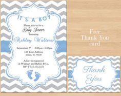 Printable Baby Shower Blue Grey Chevron Birthday Party Invitation Teal Boy  Gray Invite FREE Thank You Card