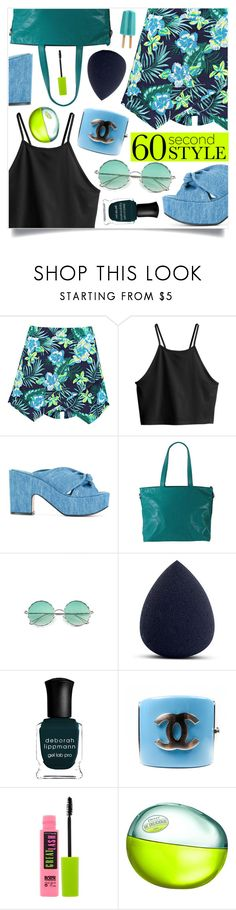 """""""60-Second Style: Asymmetric Skirts"""" by marina-volaric ❤ liked on Polyvore featuring Boohoo, H&M, Robert Clergerie, Latico, Deborah Lippmann, Chanel, Maybelline, DKNY, asymmetricskirts and 60secondstyle"""