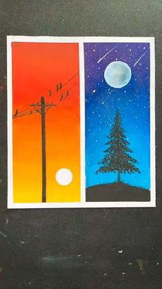 Canvas Painting Tutorials, Diy Canvas Art, Crayon Painting, Crayon Art, Drawing On Canvas, Sillouette Painting, Oil Pastel Drawings Easy, Oil Pastel Paintings, Simple Canvas Paintings