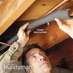 Cover cold water pipes with foam pipe insulation to stop condensation. The foam . Cover cold water pipes with foam pipe insulation to stop condensation. The foam insulation is inexp Basement Workshop, Basement Layout, Basement Windows, Basement House, Basement Stairs, Basement Ideas, Dry Basement, Basement Office, Basement Ceilings