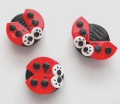 Magnets Ladybugs handmade polymer clay magnets ( 3 )