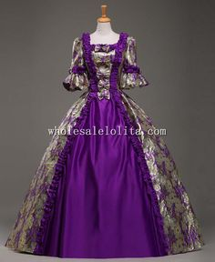 18th Century Purple Marie Antoinette Period Dress Ball Gown Vintage Dress Theatre Clothing