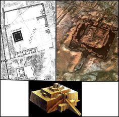 Image 1: Plan de la ziggurat de Marduk. Image 2: Vuie aérienne de la zigurate…