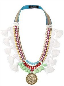Akong London - White Tassel Tribal Necklace | FashionJug.com