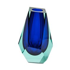 """A Moser artisan won the public prize of the Czech Grand Design competition for this dramatic piece which was inspired by a pear-shaped diamond. Bold, courageous panel cuts and vibrant colors combine to create a stunning vase.     Measures 11 ¾"""" h."""