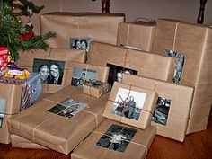 Craft paper with black and white photos and twine or colored thin ribbon - love this!!