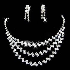 Ékszer szett Női Évforduló / Esküvő / Eljegyzés / Születésnap / Ajándék / Parti / Különleges alkalom Ékszer-szettek Ötvözet Strassz 4821586 2017 – €4.84 Rhinestone Jewelry, Crystal Necklace, Earring Set, Crystals, Diamond, Stuff To Buy, Jewellery, Jewels, Schmuck