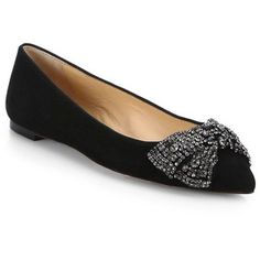 Tory Burch Vanessa Crystal-Bow Suede Ballet Flats