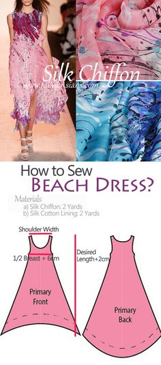 How to sew beach Free chiffon dress sewing pattern. Dress Sewing Patterns, Sewing Patterns Free, Free Sewing, Sewing Tutorials, Clothing Patterns, Pattern Sewing, Free Pattern, Dress Pattern Free, Sewing Tips