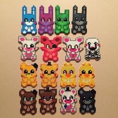 Love FNAF so much!! Made these little guys throughout the weeks! #fnaf #perlerbeads #colorful #animals #animatronics #cute #scary
