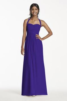 Expect a wonderful night on the town in this luxurious gown! Gorgeous pleated  bodice adds. Purple Wedding DecorationsHalter GownChiffon ... 3eaa493b5cab