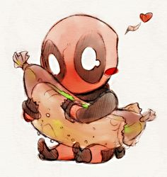 Deadpool loves hotdogs gaah no time for drawing. :[ and no motivation deadpool bld Cute Deadpool, Deadpool Y Spiderman, Batman, Deadpool Chibi, Chibi Marvel, Marvel Comics, Marvel Dc, Baby Marvel, Dead Pool