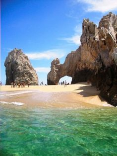 The Arch, also known as Lover's Beach. Los Cabos, Mexico. Every four years, the tide changes and a beach surfaces so you can walk underneath. You can also click the pick for something really cool...