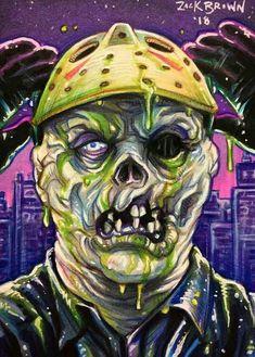 Artwork by Zack Brown💀 Slasher Movies, Horror Movie Characters, Monster Squad, Monster Art, Horror Art, Horror Film, Creepy Horror, Horror Photos, Creepy Clown