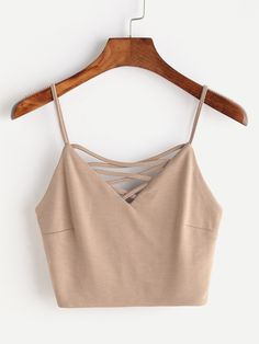 Shop Criss Cross V Neck Zipper Back Cami Top online. SheIn offers Criss Cross V Neck Zipper Back Cami Top & more to fit your fashionable needs. Cami Tops, Cute Crop Tops, Women's Tops, Crop Top Outfits, Cute Casual Outfits, Stylish Outfits, Teen Fashion Outfits, Outfits For Teens, Summer Outfits
