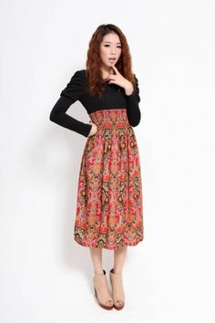 Beautiful Long Sleeve Puff Tunic Floral Dress Black on BuyTrends.com, only price $16.50