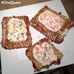 """A healthy and tasty recipe from our very own Quest Creator Shannan Yorton - #QuestBar """"Pop-Tarts!"""" Click for recipe! #OnaQuest Protein Desserts, Low Carb Desserts, Low Calorie Recipes, Protein Recipes, Homemade Quest Bars, Semi Homemade, Sugar Free Jam, Healthy Desserts, Healthy Food"""