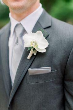 White Wedding Bouquets, Bride Bouquets, Wedding Flowers, White Orchid Bouquet, Orchid Flowers, Orange Wedding, Orchid Boutonniere, Groom Boutonniere, Boutonnieres