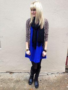 cobalt blue (or bright solid) dress, leopard cardigan, black scarf, black tights, black boots